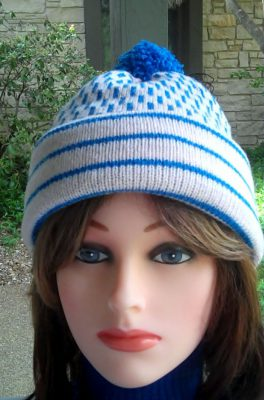 pink and blue Fair Isle hat, double thick