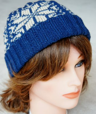 Navy Snowflake Hat